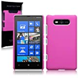 NOKIA LUMIA 820 HYBRID RUBBERISED BACK COVER CASE - SOLID HOT PINK