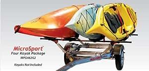 Malone Auto Racks MicroSport Trailer Kayak Transport Package with 4 Malone J-Pro2 Kayak Carriers