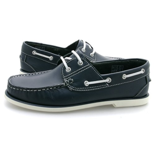 New Mens Navy Leather Boat Shoes