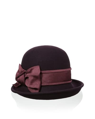 Giovannio Women's Off Face Faille Bow Cloche, Aubergine, One Size As You See