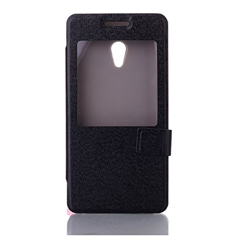 ASUS ZenFone 5 スリム軽量設計 51g 手帳型 窓付 PUレザーケース ( A500KL 16GB 32GB SIMフリー LTE / 楽天モバイル版 対応 ) 良質レザー加工 / 画面保護 / OPEN WINDOW  / PU leather Wallet Case PCハード素材MY WAY 出品カラー全3色:簡易防水パッケージ (ASUS ZenFone 5, Black (黒))