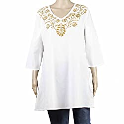 White Summer Clothes For Women Embroidered Kurta Loose Shirt Top From India
