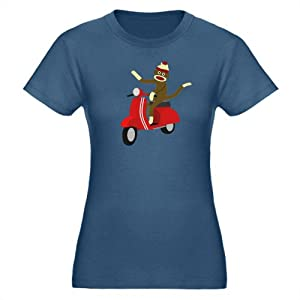 CafePress Sock Monkey Vespa Organic Women's Fitted D T-Shirt Organic Women's Fitted T-Shirt dark