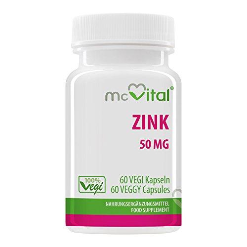 Zink 50 mg - 100% vegan - Hohe Bioverfügbarkeit - 60 Vegikapseln