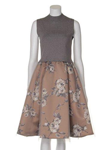 snidel(スナイデル)ローズチュールコンビニットワンピース GRY F : 服&ファッション小物通販 | Amazon.co.jp