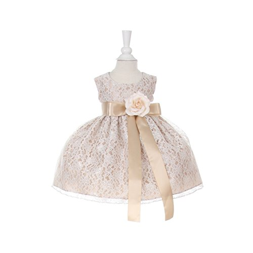 Cinderella Couture Baby Girls Champagne Lace Champagne Sash Sleeveless Dress 18M