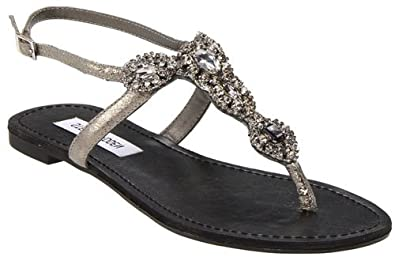 Women's Steve Madden GLAARE T-Strap Sandals GRAY 5 M
