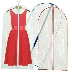 Hangerworld Crystal Clear 60'' Zipped Dress / Suit Covers, Coloured Trim, Pack of 6