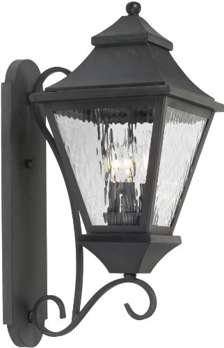 Elk Lighting 5701-C 8 by 22-Inch East Bay Street Water Glass 3-Light Outdoor Wall Lantern, Charcoal Finish