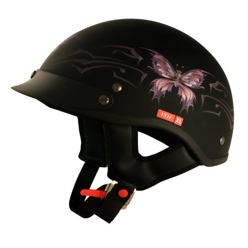 VCAN V531 Intricate Butterfly Flat Black Medium Half Helmet