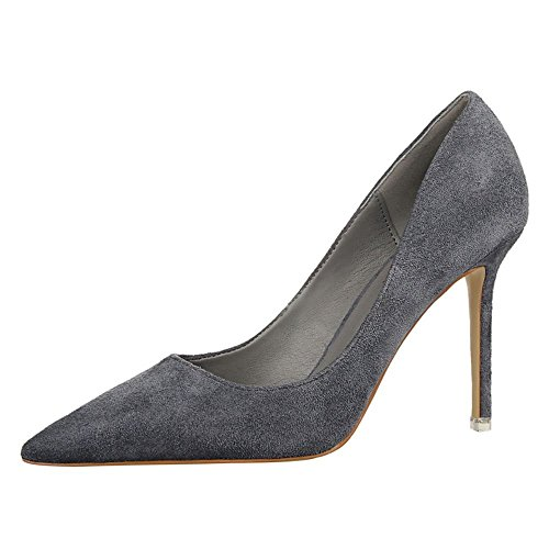 ivan-womens-suede-leather-wedding-party-simple-cusp-pumps-shoes-thin-high-heels39-m-eu-85-bm-us-grey