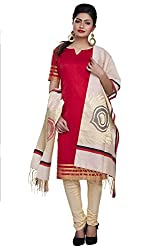 Rajnandini women's Silk Unstitched salwar suit Dress Material ( Red_Free Size)