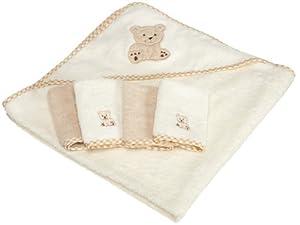 Spasilk 100% Cotton Hooded Terry Bath Towel with 4 Washcloths, Beige