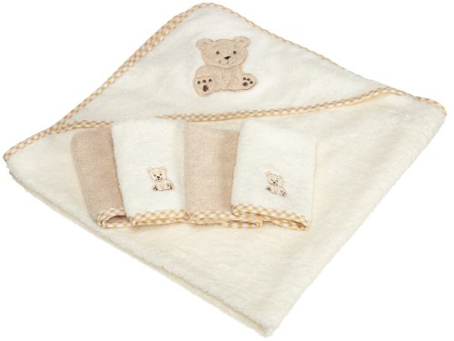 Spasilk 100-Percent Cotton Hooded Terry Bath Towel with 4 Washcloths, Beige