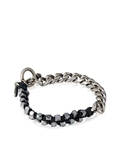 Ettika Toggle Half and Half Bracelet with Chain Links and Leather and Metal Beads Sides As You See