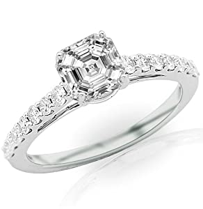 1.41 Carat Asscher Cut / Shape 14K White Gold Classic Graduating Pave Set Diamond Engagement Ring ( J Color , VS1 Clarity )