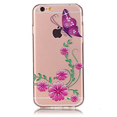 Urberry Iphone 6s Case, Iphone 6 Slim Back Cover, Purple Butterfly and Flower Print Case for 4.7 Inch Iphone 6/6s with a Screen Protector