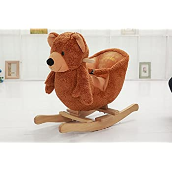 DanyBaby Rocking Animal Ride On Rocking Plush Teddy Bear Chair Embroidered Words
