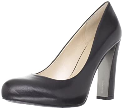 Nine West Women's Desired Pump,Black Leather,10 M US