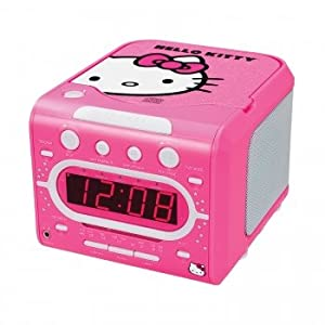 Hello Kitty KT2053 A AM/FM Stereo Alarm Clock Radio with Top Loading CD Player, 6 inch Red LED Display with Dimmer