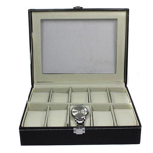 Pu Leather 10 Slots Wrist Watch Display Box Storage Holder Organizer Windowed Case front-40483