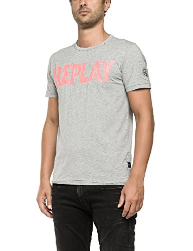 Replay -  T-shirt - Maniche corte  - Uomo Grigio Grau (MEDIUM GREY MELANGE M04) xxl