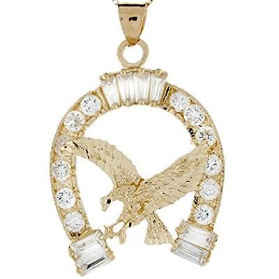10k Real Gold Diamond Cut Eagle in CZ Horseshoe Good Luck Pendant