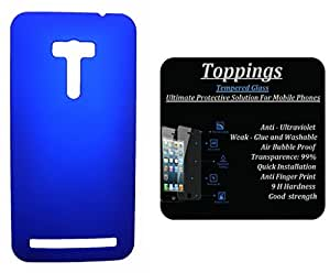 Toppings Hard Case Cover With Tempered Glass For Asus Zenfone 2 Laser 5.5 - Blue