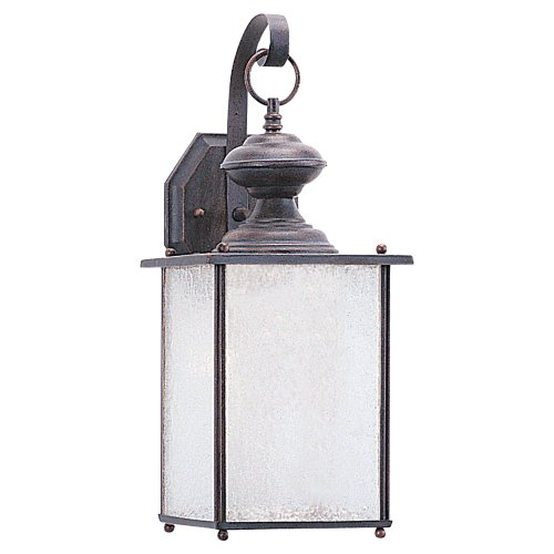 Sea Gull Lighting 89382Ble-08 Jamestowne - One Light Outdoor Wall Sconce, Textured Rust Patina Finish With Frosted Seeded Glass
