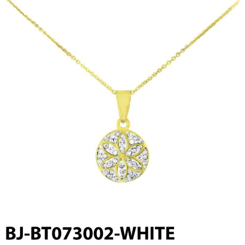 Stainless Steel Glod Tone Flower Pendant with Clear Cubic Zirconia & Chain