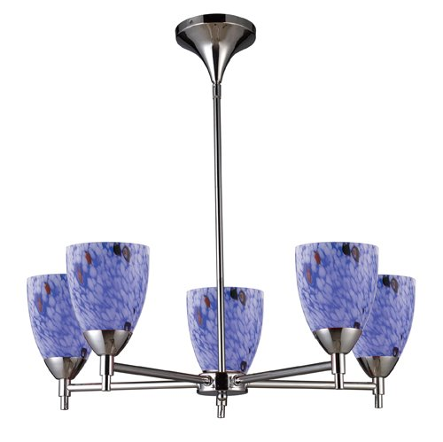 B004HWZ04I Elk 10155/5PC-BL Celina 5-Light Chandelier In Polished Chrome And Starburst Blue Glass