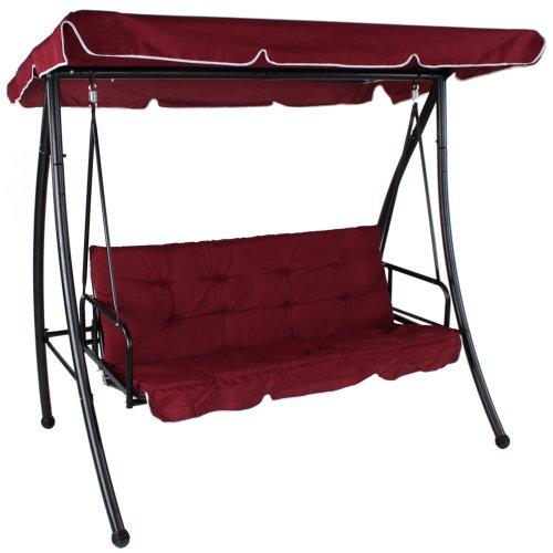 Luxus Hollywoodschaukel Gartenschaukel 3-Sitzer mit Bettfunktion weinrot