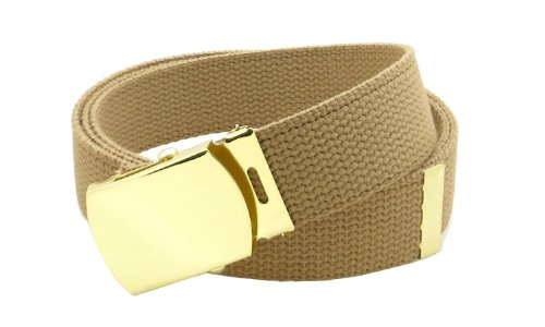 """Canvas Web Belt Military Style with Brass Buckle and Tip 54"""" Long Many Colors (Tan)"""