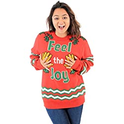 feel the joy groping hands red ugly christmas sweater - Dirty Christmas Sweaters