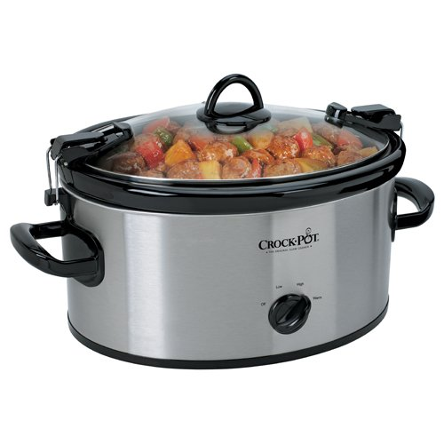 Crock-Pot Cook' N Carry 6-Quart Oval Manual Portable Slow Cooker, Stainless Steel