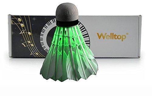 Welltop®5 Pcs Brand New Led Badminton Shuttlecock Dark Night Glow Birdies Lighting For Indoor Sports Activities+Free Welltop® Corkscrew (Green)