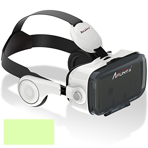 AFUNTA 3D VR Headset Glasses, 120 Degree Viewing Angle Box With Headphone for 4.7~6 inch Cellphones