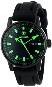 Wenger Men's 70172 Commando Day Date XL Black Rubber Strap Watch