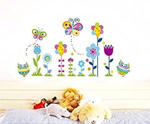 ufengke® Búhos de Dibujos Animados Mariposas y Flores Pegatinas de Pared, Vivero Habitación de Los Niños Removible Etiquetas de La Pared / Murales por Ufingo - BebeHogar.com