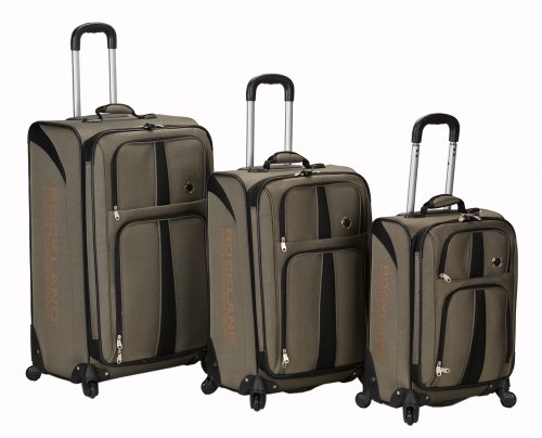 Rockland Luggage Eclipse Spinner Polo Equipment 3 Piece Luggage Set, Khaki, One Size best offers