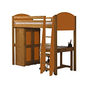 Single High Sleeper Bunk Bed Pieces Included: Bed Frame / Tall Boy / 5 Drawer Chest, Finish: Orange