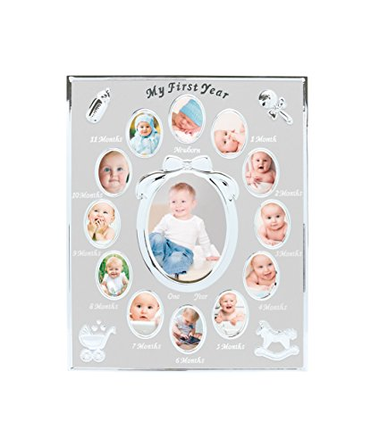 Tiny Ideas Baby's First Year Picture Frame, Silver (Silver Baby Frame compare prices)