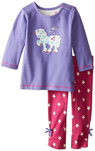 Hatley Baby Girls' Long Sleeve Tee and Legging Set Unicorn, Purple, 18 24 Months