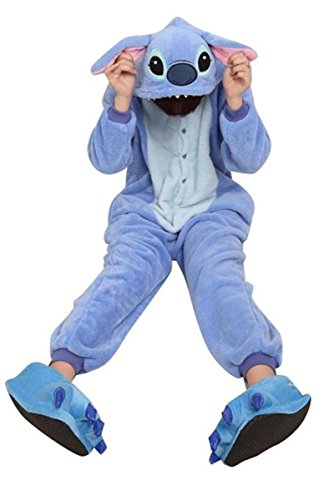 [WOWcosplay All-in-one Pikachu Pajamas Onesie Adult Anime Cosplay Halloween Costume,size L(Blue] (Stitch Costumes Adults)