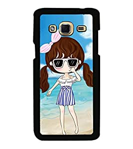 Animated Girl Beach Background Back Case Cover for SAMSUNG GALAXY J3