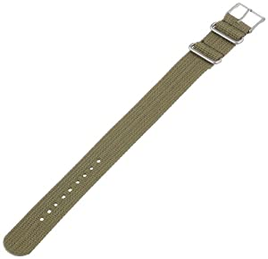 Timex T7B911 Weekender 20mm Olive Nylon Slip-Thru Watch Strap