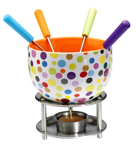 Mastrad Ceramic Fondue with Coloured Metal Handle Forks, Peas Design