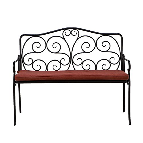 Grand Patio Steel Outdoor Bench With Red Cushion