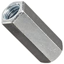 "12L14 Steel Coupling Nut, Zinc Plated Finish, Right Hand Threads, Corrosion Resistant, 1/2""-13 Threads, 11/16"" Width Across Flats (Pack of 30)"