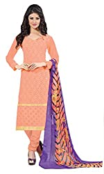 Ethnic For You Georgette Unstitched Salwar Suit Dress Materials(Light Orange)